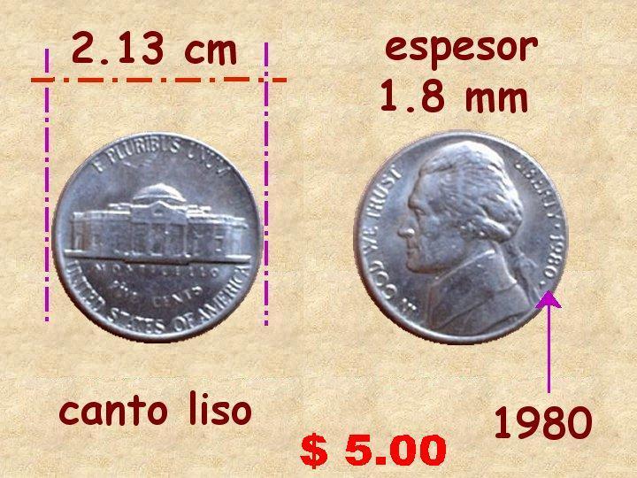 Diez Centavos de Dolar Monedas de 5 Centavos de Dólar