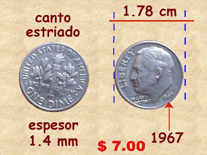Diez Centavos de Dolar 10 Centavos de Dólar 1967